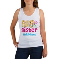 Big Sister Pink Teal Floral Perso Women's Tank Top