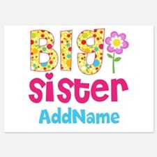 Big Sister Pink Teal Floral Persona 5x7 Flat Cards