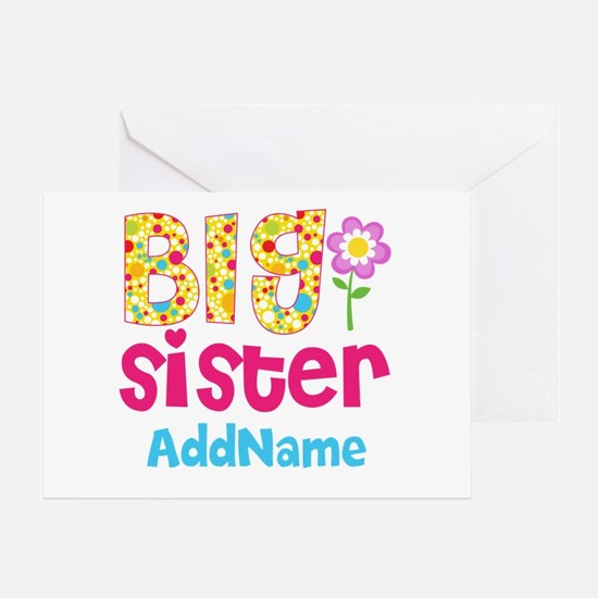 Big Sister Pink Teal Floral Personal Greeting Card