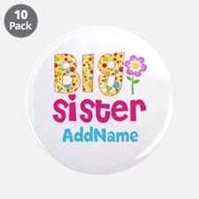 "Big Sister Pink Teal Floral 3.5"" Button (10 pack)"