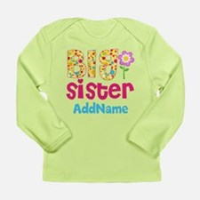 Big Sister Pink Teal Fl Long Sleeve Infant T-Shirt
