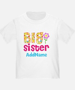 Big Sister Pink Teal Floral Person T
