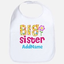 Big Sister Pink Teal Floral Personalized Bib