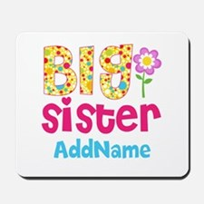 Big Sister Pink Teal Floral Personalized Mousepad