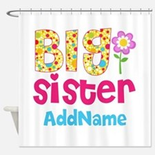 Big Sister Pink Teal Floral Persona Shower Curtain