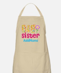 Big Sister Pink Teal Floral Personalized Apron