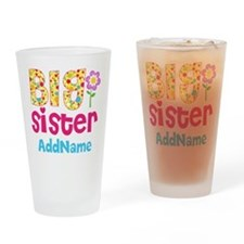 Big Sister Pink Teal Floral Persona Drinking Glass