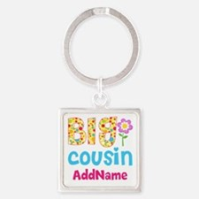 Big Cousin Floral Dots Personalize Square Keychain