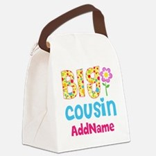 Big Cousin Floral Dots Personaliz Canvas Lunch Bag