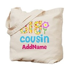 Big Cousin Floral Dots Personalized Tote Bag