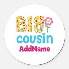 Big Cousin Floral Dots Personaliz Round Car Magnet