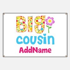 Big Cousin Floral Dots Personalized Banner