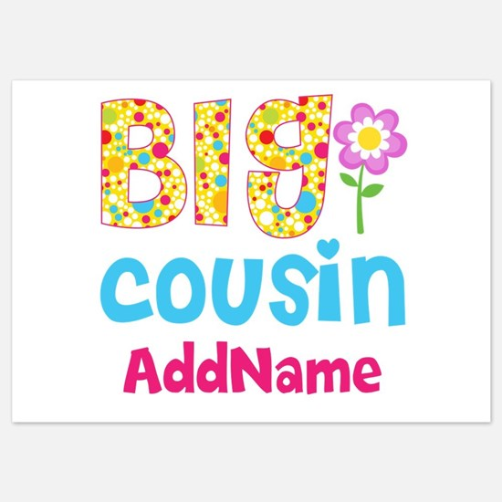 Big Cousin Floral Dots Personalized 5x7 Flat Cards