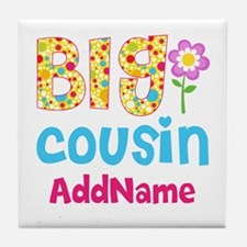 Big Cousin Floral Dots Personalized Tile Coaster