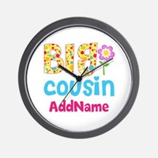 Big Cousin Floral Dots Personalized Wall Clock