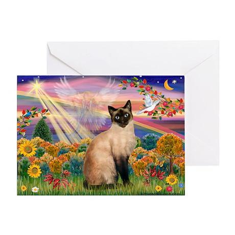 Autumn Angel & Siamese Greeting Card