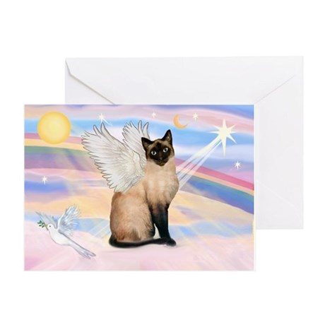 Siamese Cat Angel Greeting Card
