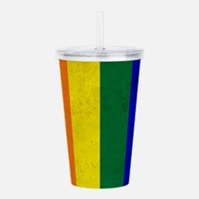 Vintage Rainbow Gay Pr Acrylic Double-wall Tumbler