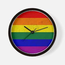 Vintage Rainbow Gay Pride Flag Wall Clock