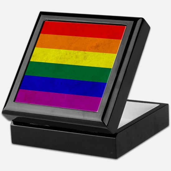 Vintage Rainbow Gay Pride Flag Keepsake Box