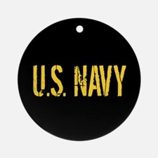 U.S. Navy: Black & Gold Ornament (Round)