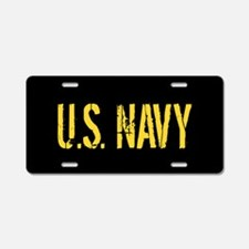 U.S. Navy: Black & Gold Aluminum License Plate