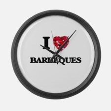 I Love Barbeques Large Wall Clock