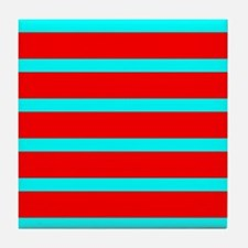 Turquoise Blue Red Stripes for Angela Tile Coaster