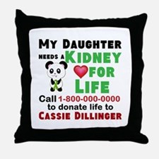 Personalize, Kidney Donation Throw Pillow