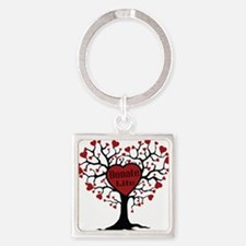 Donate Life Tree Square Keychain