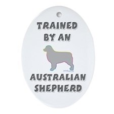 Aussie Shepherd Slvr Oval Ornament