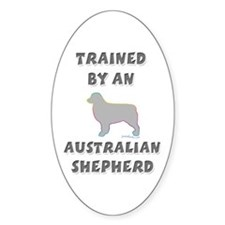 Aussie Shepherd Slvr Oval Decal