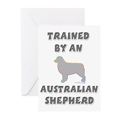 Aussie Shepherd Slvr Greeting Cards (Pk of 20)