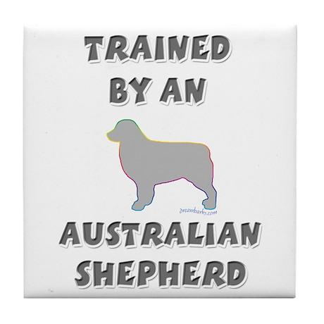 Aussie Shepherd Slvr Tile Coaster
