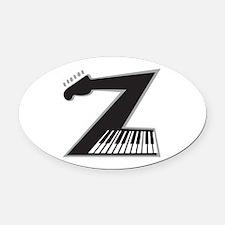 Z Guitar Piano Oval Car Magnet