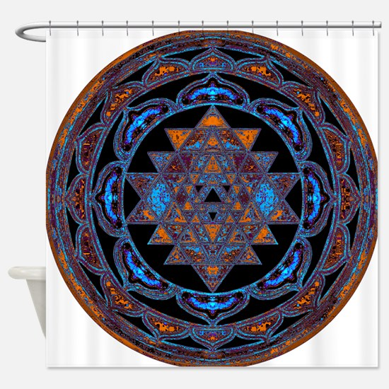 Lakshmi Yantra Mandala- Lapis Shower Curtain