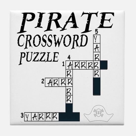 PIRATE CROSSWORD PUZZLE Tile Coaster