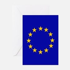 Square European Union Flag Greeting Cards
