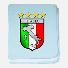 Italy flag emblem coat of arms Map Cr baby blanket