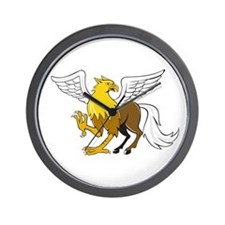 Hippogriff Prancing Isolated Cartoon Wall Clock