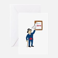 Bowler Hat Man Peeling 2016 Calendar Greeting Card