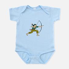 Archer Aiming Long Bow Arrow Cartoon Body Suit