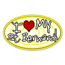 Hypno I Love My St Bernard Oval Sticker Yellow
