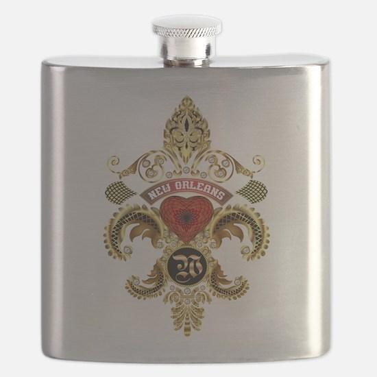 New Orleans Monogram W Flask