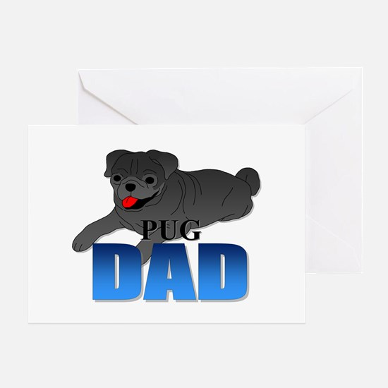Black Pug Dad Greeting Card