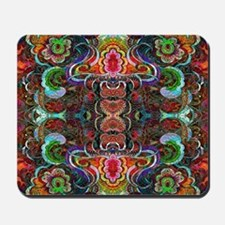 Colorful Abstract Fractal Floral Collage Mousepad