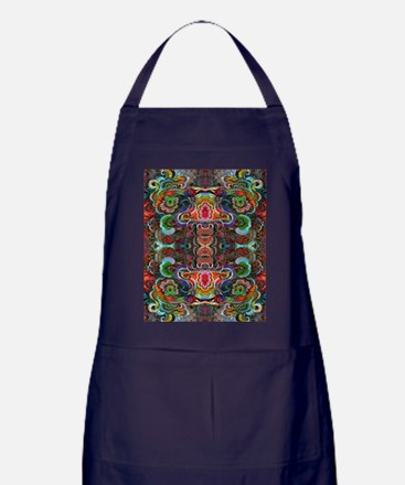 Colorful Abstract Fractal Floral Coll Apron (dark)