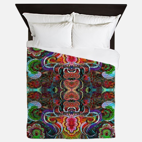 Colorful Abstract Fractal Floral Colla Queen Duvet