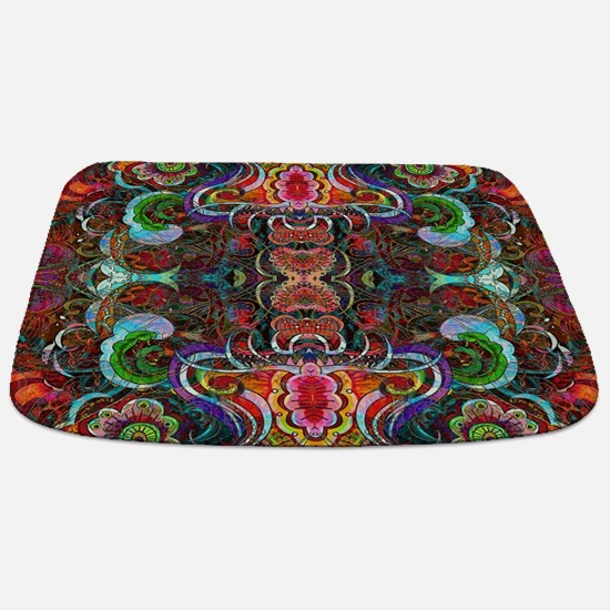 Colorful Abstract Fractal Floral Collage Bathmat