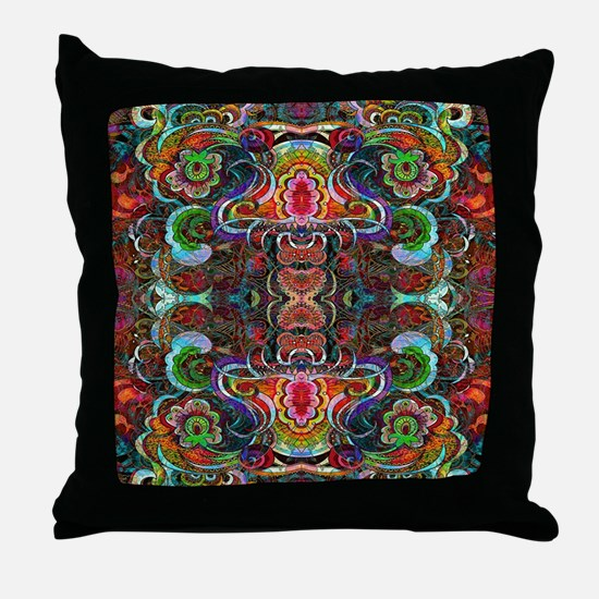 Colorful Abstract Fractal Floral Coll Throw Pillow